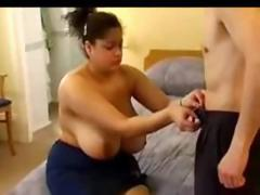BBW with huge tits sucks and..